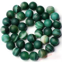 "Envío Gratis 8mm 6mm 10mm Natural esmerilado congregado Verde Color de Agate Onyx forma redonda Loose Beads Strand 15 ""Joyería Making"