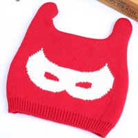 Wholesale 2015 New Baby Winter Warm Double Sided Letter Devil Ear Knitted Hat For Girls Boys
