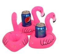 beach items - 6pcs Mini Cute Flamingo Drink Can Holder PVC Inflatable Floating Swimming Pool Bathing Beach Party Kids Toy Bath Toy