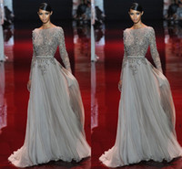 peplum - Appliques Evening Dress Beaded Valentino Elie Saab Sash Sweep Train Sheer Neck Long Sleeves New Party Pageant Dresses Gown Formal Gowns
