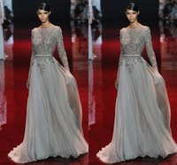 Wholesale Appliques Evening Dress Beaded Valentino Elie Saab Sash Sweep Train Sheer Neck Long Sleeves New Party Pageant Dresses Gown Formal Gowns