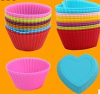 Wholesale 10sets set Silicone Muffin Cases Cake Cupcake macaron slicone mat Heat Cake Tools silicone moulds for cake decorations