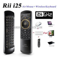 Wholesale 2015 New Wireless Keyboard Rii Mini i25 GHz Fly Air Mouse Axis QWERTY Keyboards IR Remote Control for Android TV Box Smart Mini PC Game