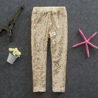Wholesale Girls Leggings kids gold sequins pants Autumn New children Bottoms girls princess pants A6949
