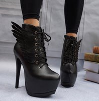 red wing boots - 2016 Angel Wings Super High Platform Lace Up Women Boots Party Club Dance Shoes Size to