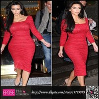 Cheap Custom Made Charming Kim Kardashian Red Lace Evening Dresses Tea Length Long Sleeve Prom Dresses Square Back Silt Sexy Celebrity Dresses