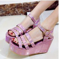 Wholesale Big Size Pink Silver Color Wedges High Heels Platform Sandal Dress Shoes For Women Sexy Casual Buckle Strap Roman sandal