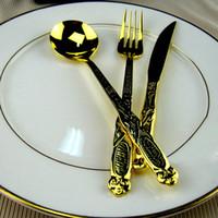 Wholesale Gold Colored Oriental Dragon Texture Royal Cutlery Picnic Tableware Knife Spoon Fork Set Dinnerware Set Kitchen Utensil Flatware order lt no