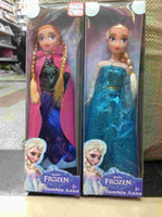 dolls clothes - Christmas On Sales Cheap Frozen princess Toys Sparkle Princess Elsa Anna sister Dolls with Nice clothing inch retail gift box