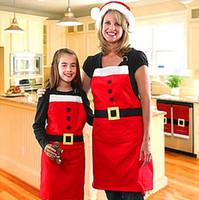 Wholesale Christmas Decoration Apron Kitchen Aprons Christmas Dinner Party Apron Santa Christmas Kitchen Christmas family party Commodity