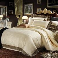 silk sheets - Cream Colored Luxury Jacquard Silk Cotton Lace Bedding Sets Queen King Size Duvet Cover Flat Sheet Pillow Sham
