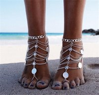 barefoot fine jewelry - 2016 Vintage Punk Women Ankle Bracelets Multilayer Tassels Coins Foot Chain Silver Plated Barefoot Sandals Fine Jewelry