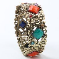 Wholesale dia MM Width MM New Mic Antiqued Bronze Plated Rhombus Crystal Rhinestone Bohemia Flower Bracelets Bangle