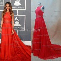Wholesale 55th Grammy Rihanna Red Carpet A line Halter Criss Cross Chapel Train Chiffon Celebrity Dresses Custom Made