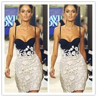 Cheap 2015 Sexy Spaghetti Strap Lace Cocktail Dresses Cheap Knee Length Open Back Applique Short Formal Celebrity Dresses Custom Made