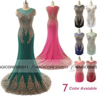Wholesale 2015 Sexy Mermaid Long Prom Evening Gowns IN STOCK Red Black White Mint Blue Formal Pageant Gown Crew Cap Sleeve Lace Dresses for Party