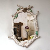 Wholesale European farm design feeling country imitation wood frame wall act the role ofing nostalgic craft decorative mirror