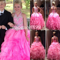 Wholesale Ritzee Pageant Gown For Girls Fuchsia Organza Heavy Beaded Halter Backless Full length Ball Gown Girl s Pageant Dresses