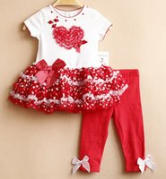 baby love products - Hot Selling Product Toddler Suit Short Sleeve Tutu Dress Leggings Clothing Sets For Infant Loving Heart Bowknot Baby Girls Outfits K373