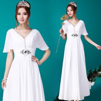 Cheap Casual Dresses wedding dress Best Floor-Length Batwing Sleeve formal dresses