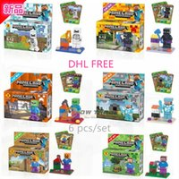 hot toys figure - DHL hot minecraft Action Figure Steve Zombie Skeleton Enderman Building Blocks Sets Kids puzzle Toys Figures Bricks J030405