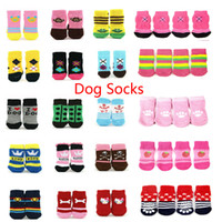 Wholesale 10 sets in Random Color and Designs Mixed Sizes Pet Accessories Dog Socks Soft and Warm