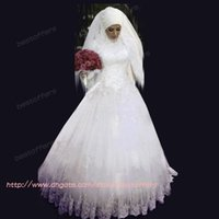 Real Photos long sleeve bridal wedding dresses - A line wedding dress with hijab Beaded crystals High Neck Long Sleeve Dress lace sequined appliques Floor Length Muslim bridal gowns