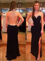 band pictures - Black Long Evening Dresses High Neck Sexy Backless Banded Crystal Side Slit Sweep Train Formal Pron Gowns