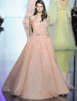 Wholesale Zuhair Murad Evening Dresses Spring Couture Coral A Line Sweetheart Tulle Formal Evening Dresses Long Prom Dresses Custom Made