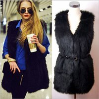 leather and fur garment - Ms Long plush fake fur garment leather vest and long sections of grass vest multicolor