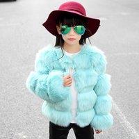 Wholesale Europe Style Stripe Color Block Child Fox Fur Outerwear Children s Clothing Faux Children Girl Fur Coat Jacket