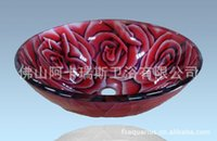 art glass sinks - The new rose glass washbasins glass painted closed basin sink stage basin glass art
