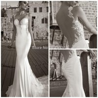 Cheap Sexy Vintage Mermaid Lace Wedding Dresses Sweetheart Spaghetti Strap Backless Applique Lace Cathedral Train Stretch Satin