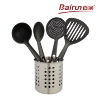 Wholesale Bairun nylon Cooking tools set for nonstick pan set contain scoop shovel ladle colander stainless steel storage barrel