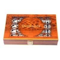 Wholesale Brand new Entertainment toys Standard Double melamine Dominoes with Hand Made Carving Wooden Box