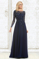 Wholesale 2015 Elegant Mother of The Bride Dresses Navy Blue Chiffon See Through Long Sleeve Arabic Dresses Sheer Neck Appliques Sequins Evening Dress