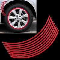 Wholesale 15 inch Set mm Red Car Motorcyle Bike Pre curved Wheel Rim Reflective Tape Decal Stickers New Top