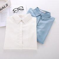 Wholesale New Brand Long Sleeve Women Shirts White BLue Blusas Femininas Viscose Women Blouses Casual Shirt Tops
