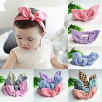 Wholesale 7 Colors Cute Baby Toddler Sweet Girl Kids Bow Hairband Turban Knot Rabbit Headband hair accessories Summer Style Headwear pc