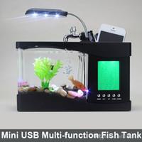 Wholesale Father s day Gift USB Desktop Fish Tank Aquarium with LED Light Fish Tank Aquarium water pump for Home Decoration Black White