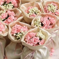wedding gifts - Weds Wedding Centerpieces Favors Silk Candy Box Elegant Artificial Bouquet Wedding Gifts Bags For Table Decoration Color