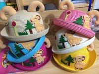 Cheap 2015 newest Fashion children's Cartoon Foldable Wide Large Brim Floppy Summer Beach Sun Straw Hat Cap