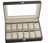 Wholesale 12 Grid Leather Watch Display Case Jewelry Collection Storage Organizer Box Holder