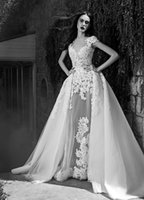 Wholesale 2016 New Arrival Sexy Sheer V Neck Lace Crystal Beaded Two Piece Detachable Train Sheath Wedding Dresses Zuhair Murad W0016