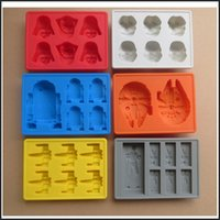 Wholesale Star Wars Ice mold Silicone Ice Cube Tray Mould Darth Vader Storm Trooper R2D2 Falcon X Wing Hans Solo design