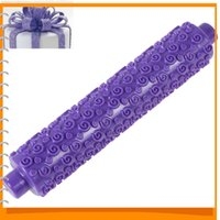 Wholesale Purple mm Fondant Rolling Pin Cake Decoration Molds Print Press Mold Rolling Tools for Cake Decoration