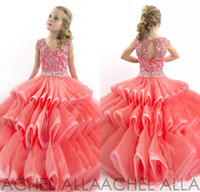 Cheap Stunning 2015 Cute Little Girls Pageant Dresses Ball Gown V Neck Beads Crystal Organza Floor Length Coral Kids Flower Girl Dress DL1313756