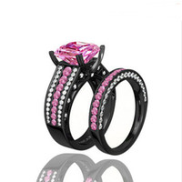 pink wedding ring - Turkish Engagement Couple Rings With Pink Gemstone Black Gold Filled Wedding Rings For Lovers Jewelry Top Fashion Daihe