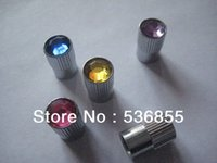 Wholesale High quality Straight grained Round shape tire valve cap with colorful Diamond on the top whole sale