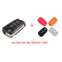 aluminum key blanks - Car Key Shell Replacement Hyundai I30 IX35 Flip Folding Remote Key Case Blank Cover Buttons with car key Silicone
